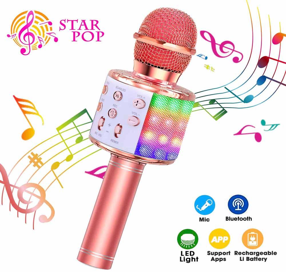 Micrófono con Bluetooth ShinePick Oro Rosa