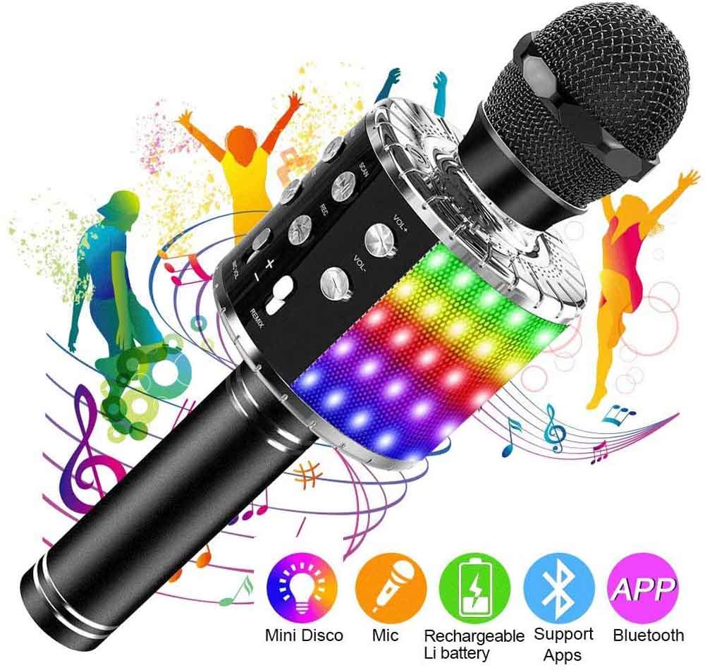 Micrófono con Bluetooth SunTop LED Negro